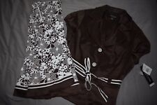 NWT Perceptions New York Outfit Size 16 Womens Skirt Jacket Brown White Floral