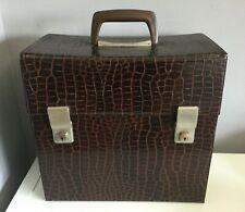 """Vintage Retro Moc Croc Vinyl Record LP Storage Box Carry Case For 12"""" Records"""