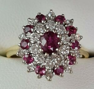 Beautiful 18ct Yellow & White Gold Ruby & Diamond Cluster Ring Size M1/2 - A8856