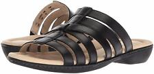 Hush Puppies 10 Wide Dachshund Slide Black Leather Flat Strappy Sandal Shoes NIB