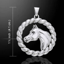 Arabian Horse in Rope Braid .925 Sterling Silver Pendant by Peter Stone