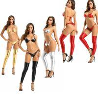 Sexy Women Two-Piece Leather Bikini Lace-up Swimsuit Mini Triangle Thongs Exotic