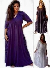 V Neck Patternless Maxi Dresses for Women