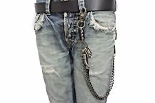 Men Key Chain Skull Horn Spike Charm Leather Antique Silver Metal Wallet Chain