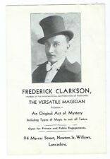 F CLARKSON ORIGINAL ACT OF MYSTERY OLD PROMOTIONAL HANDBILL VERSATILE MAGICIAN