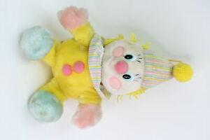 Vintage 1984 Dakin Pastel Plush Stuffed Clown W/Yarn Hair Wind-Up Musical Toy