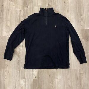 Ralph Lauren Polo Designer Black Mens Quarter Zip Sweater Jumper Large