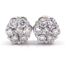 1.00ct 14k White Yellow si2 Gold Round Diamond Cluster Earrings Mens Ladies