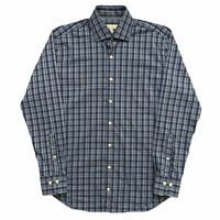 Peter Millar Mens Size M Long Sleeve Button Shirt Plaid Check Blue Stretch