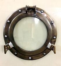 """11"""" Aluminum Porthole Glass Window Antique Finish Cabin Porthole ~Wall Frame"""