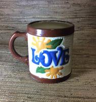 Vintage 70s LOVE Mug Hand Painted Coffee Tea Flower Power Cup Ceramic Gift