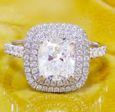 Accents Ring 14k White Gold Over 2.20Ct Cushion Cut Moissanite Halo Engagement