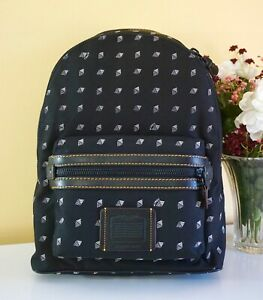 NWT Coach Academy Backpack, Dot Diamond Print, Fits Laptop, 29479 Mw/Black/Chalk
