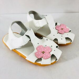 Toddler Girls Fisherman Sandals Faux Leather Floral Applique White Pink 29 US 11