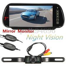 "7"" LCD Mirror Monitor + Wireless IR Reversing Camera Car Rear View Parking Kit"