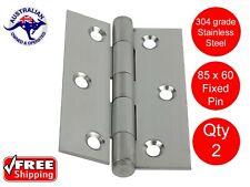 2 X STAINLESS STEEL DOOR HINGES 304 grade 85 x 60 BUTT HINGE FIXED PIN