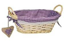 Premier Housewares Round Willow Basket Purple Gingham Lining Home Storage