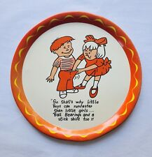 Vintage Mid Century Orange Yellow Metal Display Tray Girl Boy Risqué Humor VGC