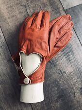 Guantes De Cuero Naranja Quemado, corte de corazón