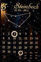 Signo Del Zodiaco Capricornio Calendario con Swarovski Piedras Chapa 20 X 30CM