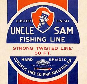 Uncle Sam Fishing Line Box Top Cohantic Line Co Philadelphia PA Vintage CPG3