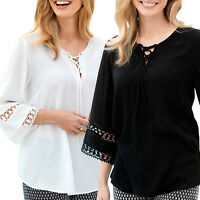 UK Sizes 10 - 28 Ladies White or Black Tie Lace Tunic Top 3/4 sleeves