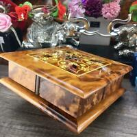 Handmade magic Thuya wooden jewelry gift box, handmade secret turning puzzle box