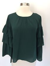 Madewell Silk Ruffle-sleeve Top Forest Green Size S Small H3469 $110 New