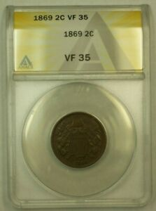 1869 Two Cent Piece 2c ANACS VF-35 (RS)