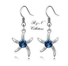 Platinum Plated Blue Silver Starfish Genuine Swarovski Element Earrings(E466-27)