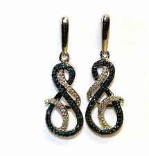 New 925 sterling silver womens .30ct blue diamond dangle earrings 3.0g fashion