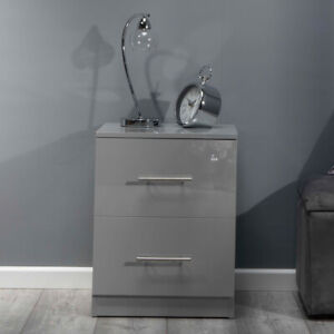 High Gloss Grey Bedside Cabinet. Premium Collection. ALL GREY GLOSS PANELS