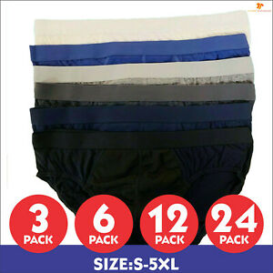 12 Pack Mens Elastic Jaquard Plain Briefs Cotton Hipsters Underwear LOT S-5XL