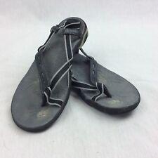 Ahnu Womens Sandals SZ 7 Slip On Toe Ring Thong Walking Black Shoes