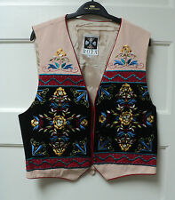 "HAIRSTON ROBERSON ROPA ""NATURAL CREPE w/ BLACK"" EMBROIDERED VEST, SIZE LARGE"
