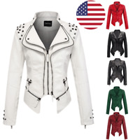 Chouyatou Women's Moto Studded Cool Perfectly Shaping Faux Leather Biker Jacket