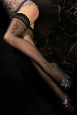 Ballerina 291 Sheer Black Hold Ups with Floral Detail and Lace Top