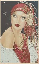 Art Deco Lady en Rojo Vestido Punto de Cruz Kit Completo N.º 1-193