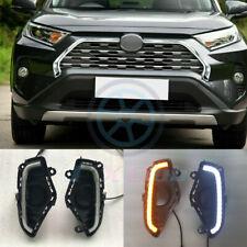 For Toyota RAV4 2019-2020 LED DRL Daytime Running Fog Light Turn Signa Lamp Pair