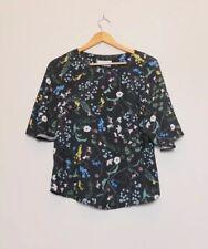 Anna Glover x H&M Black Multicolour Floral Blouse With Kimono Sleeves EU 32 UK 6