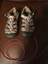 KEEN GIRLS SANDALS SIZE 11 YOUTH PINK STRIPED WATERPROOF HIKING ELASTIC STRING