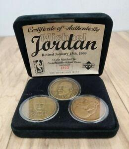 Michael Jordan Retired Jan. 13 1999 3 Bronze Coin Set Upper Deck NBA