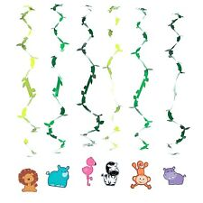 ZOO ANIMALS SAFARI JUNGLE PARTY SUPPLIES HANGING SWIRL DECORATIONS (PACK OF 12)