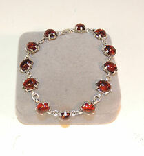 Sterling Silver and Amber Bracelet 7.5 inches long (4035)