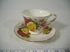 Queen Ann Bone China Tea Cup & Saucer Set - Red & Yellow Roses, England