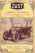 PUBBLICITA'  1917 AUTO CABRIOLET ZUST BRESCIA MOTORI AVIAZIONE OMNIBUS AUTOCARRO