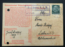 1940 Germany Buchenwald Concentration Camp Postcard Cover Josef Bugaj