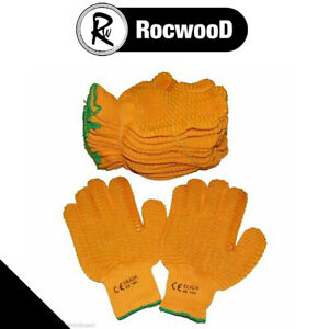 Yellow Criss Cross Gripper Gloves Large 10 x Pairs