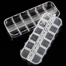 12 Grid Nail Art Clear Plastic Rhinestone Bead Storage Empty Case Container x 2