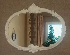 Espejo de Pared Barroco Ovalado Antiguo Blanco 52x42 baño Vintage Retro C17